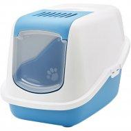 Туалет-домик для кошек «Savic» nestor, 56x39x38.5 см, бело-синий.