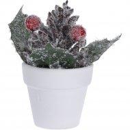 Цветок искуственный декоративный новогодний, 6.5х6.5х13.5 см.