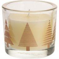 Свеча в стеклянном подсвечнике «Новогодняя» 7х7х8 см.