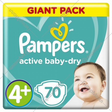 Подгузники «Pampers Active Baby-Dry» 10-15 кг, 4+ размер, 70 шт.