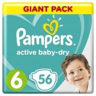Подгузники «Pampers» Active Baby Dry, 13-18 кг, 6 размер, 56 шт.