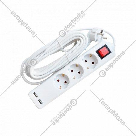 Удлинитель «Етр» 3P/3м, с заземлением, выключателем и USB.