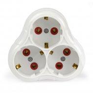 Разветвитель «Smartbuy» 3 гнезда с заземлением круглый белый, 16А 250В.