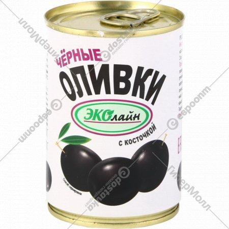 Оливки черные «Ecoline» с косточки, 280 г.