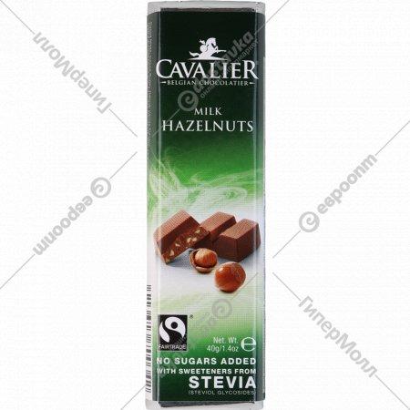 Шоколад молочный «Cavalier» c лесным орехом и стевией, 40 г.
