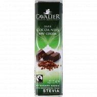 Горький шоколад «Cavalier» с кусочками какао бобов и стевией, 40 г.