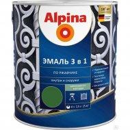Эмаль «Alpina» Ral6002, по ржавчине, 3 в 1, зеленая, 2.5 л