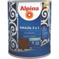 Эмаль «Alpina» Ral8011, по ржавчине, 3 в 1, темно-коричневая, 2.5 л