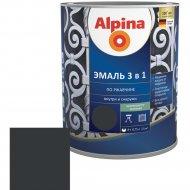 Эмаль «Alpina» Ral9005, по ржавчине, 3 в 1, черная, 0.75 л