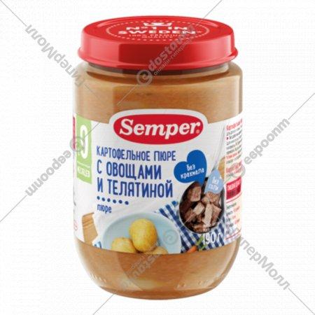 Пюре картофельное «Semper» с овощами и телятиной, 190 г.