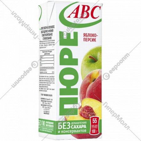 Пюре яблочно-персиковое «Будь здоров» с трубочкой, 210 г.