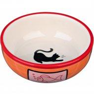 Миска «Trixie» керамическая, с рисунком кошки, D12.5х350 мл.