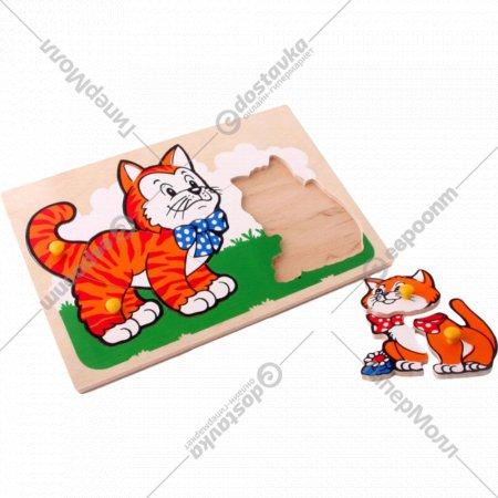 Деревянная рамка-вкладыш «Кот и котенок».
