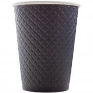 Стакан бумажный с конгревом «Waffle Black» 300 мл, 25 штук