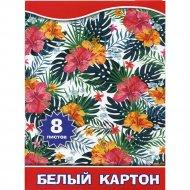 Набор белого картона «Тропические цветы» AСW-8/1/16, А4, 8 листов.