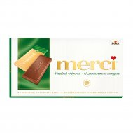 Молочный шоколад «Merсi» с дробленым лесным орехом и миндалем, 100 г.