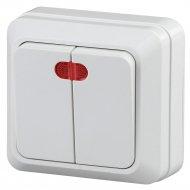 Выключатель «Intro» 2-105-01 двойной с подсветкой, ОУ, Quadro.