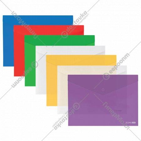 Папка-конверт «Economix» А5 прозрачно-цветная на кнопке.