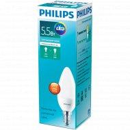 Лампа «Philips» LEDCandle 5.5-50W E14 840 230V B38N.
