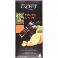 Горький шоколад c апельсиновыми цукатами и миндалем 57%, 100 г.