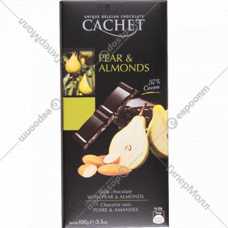Горький шоколад c грушей и миндалем 57%, 100 г.