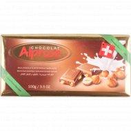 Молочный шоколад «Alprose» с цельным лесным орехом 100 г.