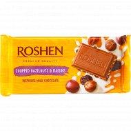 Шоколад молочный «Roshen» с лесными орехами и изюмом, 90 г.