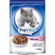 Корм для кошек «PreVital»телятина в соусе, 100 г.