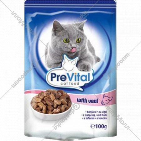 Корм для кошек «PreVital» телятина в соусе, 100 г