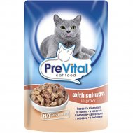Корм для кошек «PreVital» лосось в соусе, 100 г.