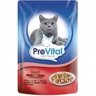 Корм для кошек «PreVital» говядина в желе 100 г.