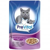 Паучи «PreVital» для кошек кролик и индейка в желе, 100 г.