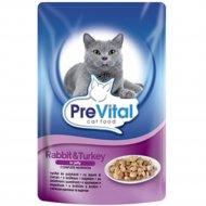 Корм для кошек «PreVital» индейка и кролик в желе, 100 г.