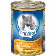Корм для кошек «PreVital» кролик, птица, морковь в желе, 415 г.