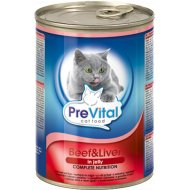 Корм для кошек «PreVital» говядина и печень, 415 г.