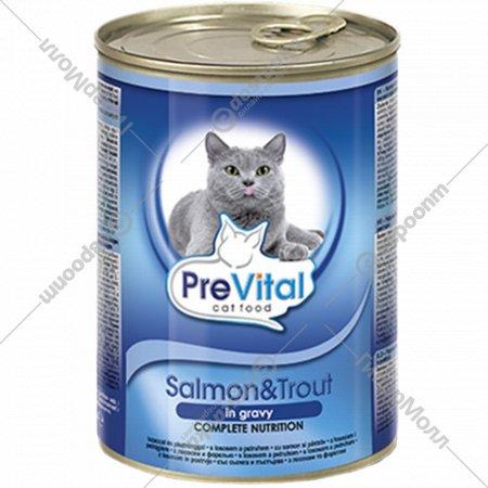 Консерва для кошек «PreVital» лосось и форель в соусе, 415 г