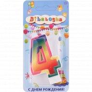 Свеча для торта «Bibabosha» цифра № 4