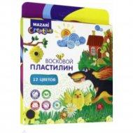 Пластилин «Восковой» со стеком, 12 цветов.
