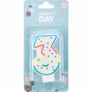 Свеча для торта «Party Day» цифра № 3
