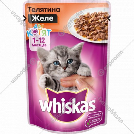 Корм для котят «Whiskas» желе с телятиной, 85 г
