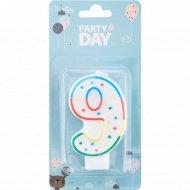 Свеча для торта «Party Day» цифра № 9