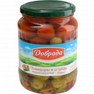 Ассорти «Добрада» помидоры и огурцы, маринованные, 680 г.