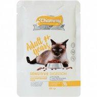 Корм влажный «Chammy Premium» для кошек, индейка, рис, 85 г.