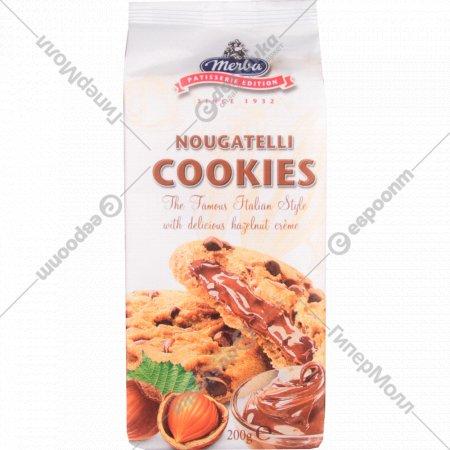 Печенье «Merba» с кусочками шоколада и ореховым кремом, 200 г.