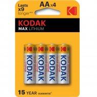Комплект батареек «Kodak» MAX FR6-4BL L91 LITHIUM, Б0046506, 4 шт