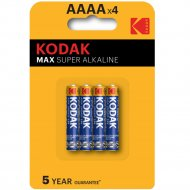 Комплект батареек «Kodak» max LR61-4BL K4A-4, Б0046504, 4 шт