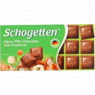 Шоколад молочный «Schogetten» альпийский, с лесными орехами, 100 г.