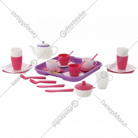 Набор детской посуды «Алиса» с подносом на 4 персоны, 35 элементов.