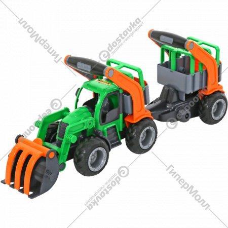 Трактор-погрузчик «ГрипТрак» с полуприцепом для животных.