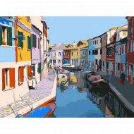 Живопись «Красочные дома, Венеция» по номерам с акриловыми красками.